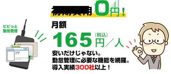 初期費用0円 月額150円/人